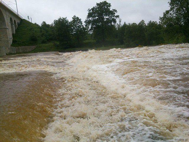 Rzeka Bóbr. Okolice wiaduktu. Zdjęcie z 4 czerwca 2013 roku. z-index: 0