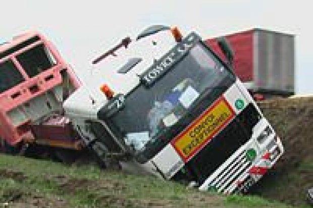 Pijany kierowca ciężarówki zjechał do rowu