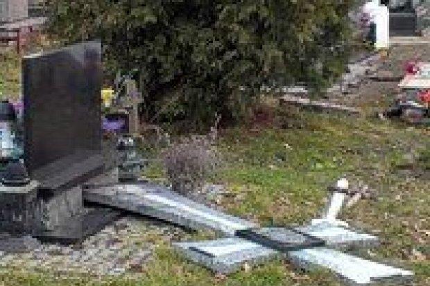Włamali się do domu pogrzebowego, zdewastowali krzyże