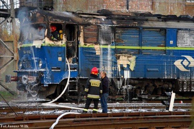 Pożar lokomotywy w Węglińcu