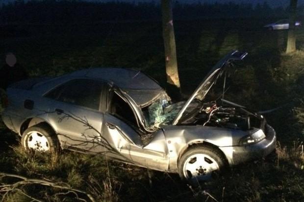 Audi wypadło z drogi i uderzyło w znak. Jedna osoba ranna