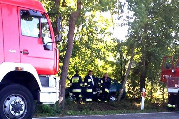 Auto wypadło z drogi koło Parowej - jedna osoba ranna