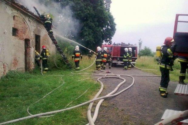 Pożar stodoły w Godzieszowie