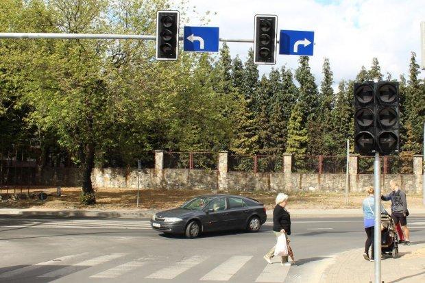 Sygnalizacja świetlna koło Carrefoura
