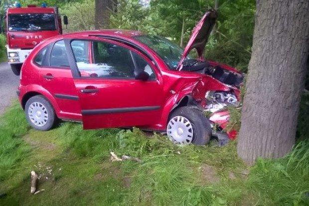 Citroën uderzył w drzewo na Rajskiej
