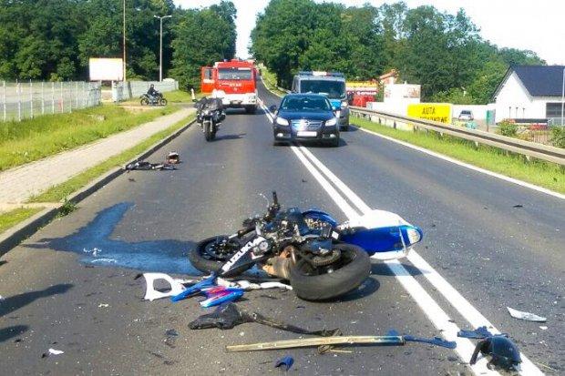 Motocyklista ranny po wypadku na wyjeździe na Zgorzelec