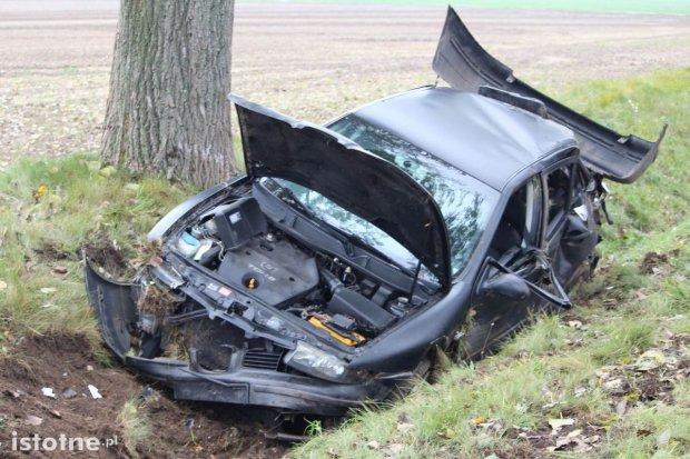 Kierowca Seata wypadł z drogi i uderzył w drzewo