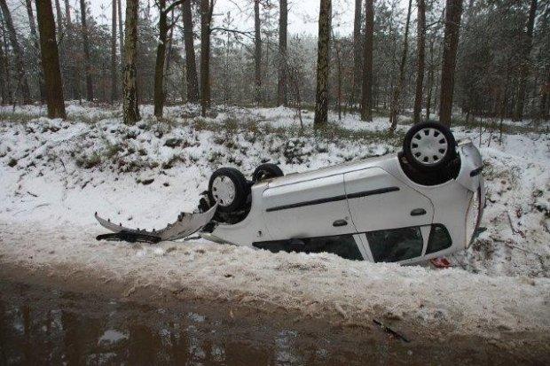 Auto dachowało pod Krzyżową