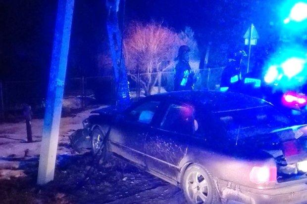 Rozpędzone Audi złamało słup w Warcie Bolesławieckiej – dwie osoby ranne