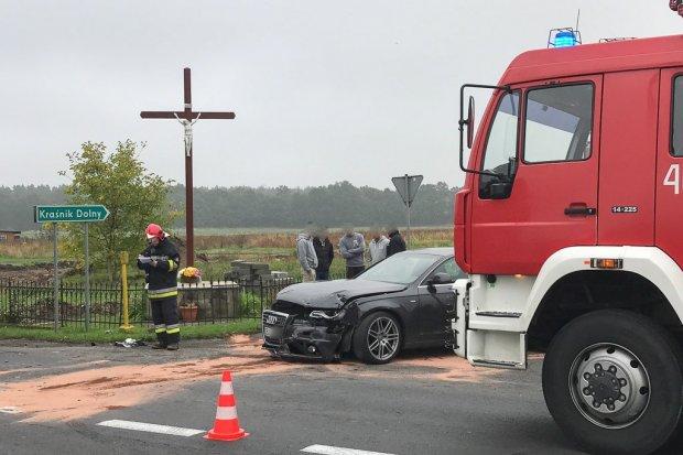 Wypadek w Łące. 60-latek ranny.