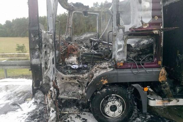 Pożar samochodu ciężarowego na A4