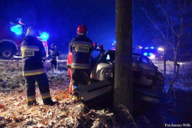 Wypadek pod Trzebieniem. Jedna osoba ranna