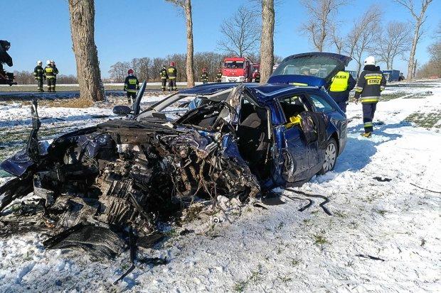 Śmiertelny wypadek między Iwinami a Wartą. Kierowca Audi zginął na miejscu
