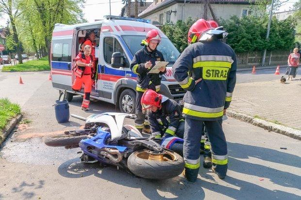 Motocyklista ranny w wypadku w Bolesławcu