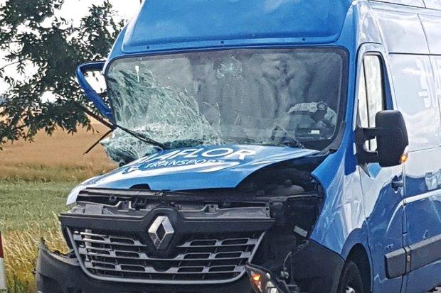 Bus najechał na traktor koło Wilczego Lasu. Sprawca z 300-zł mandatem