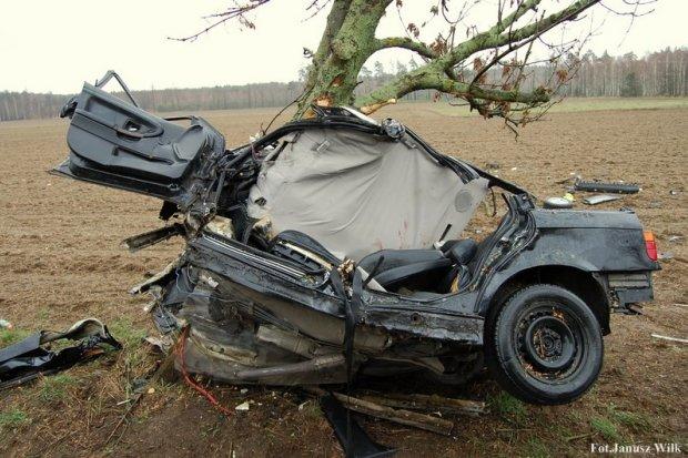 Bmw wylądowało na drzewie. To istny cud, że 22-letni kierowca przeżył