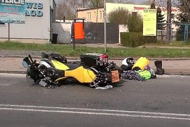 Potrącenie motocyklisty na skrzyżowaniu Wróblewskiego i Dolnych Młynów