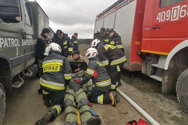 Pożar w Borach Dolnośląskich i ranny saper
