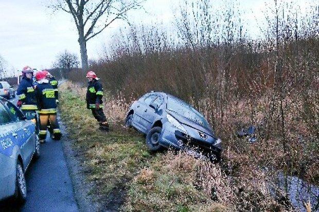 Auto wypadło z drogi koło Wierzbowej, 30-latka lekko ranna