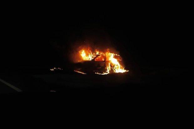 Pożar osobówki koło Suszek
