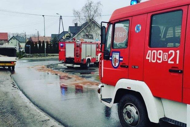 Tłusta plama na drodze Bolesławiec–Parzyce