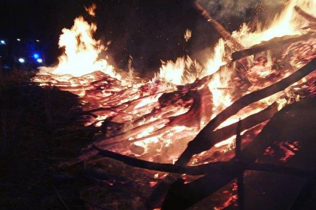 Pożar koło lasu w Kierżnie