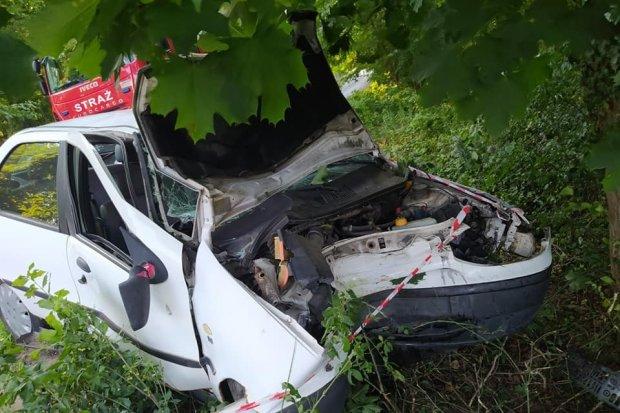 Tomaszów Bolesławiecki: kierowca Fiata zjechał z drogi i uderzył w drzewo