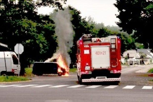 Pożar busa przy Rzemieślniczej