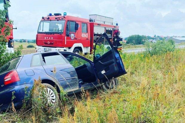Audi wpadło do rowu, 22-latka z mandatem