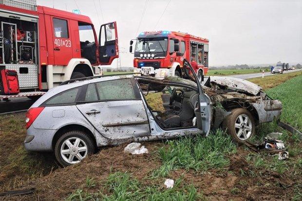 Auto wypadło z drogi między Wartą a Łaziskami. Dwie osoby trafiły do szpitala