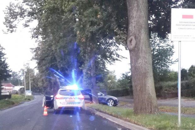 Audi uderzyło w drzewo, 22-letni kierowca trafił do szpitala