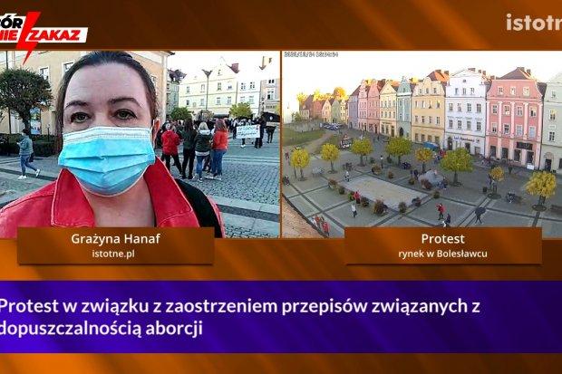 Ponad 440 osób protestowało w Bolesławcu przeciw zaostrzeniu prawa aborcyjnego