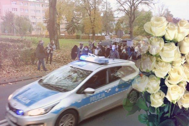 Bukiet białych róż dla bolesławieckiej policji. Podziękowanie za profesjonalizm