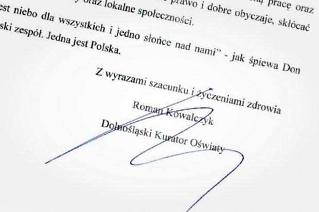 Obłudny list kuratora oświaty do dolnośląskich nauczycieli