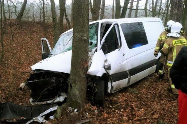 Mercedes wjechał w drzewo