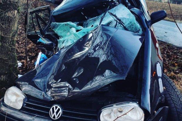 Auto wypadło z drogi między Wykrotami a Gierałtowem, uderzyło w drzewo