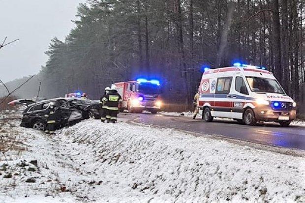 Auto wypadło z drogi koło Parowej. Są zdjęcia