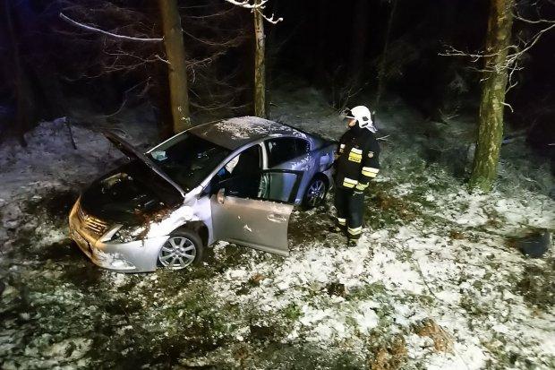 Auto wypadło z drogi. Poszkodowany jest kierowca