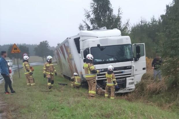 Ciężarówka wylądowała w rowie w Wilczym Lesie