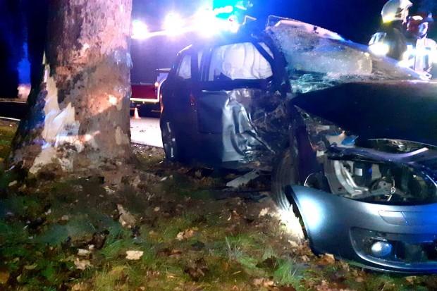 Auto zawinęło się na drzewie w Zebrzydowej, kobieta zabrana do szpitala