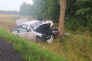 Kolizja w Czernej. Auto wypadło z drogi i uderzyło w drzewo. 24-latek lekko ranny