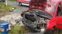 Zabłocie: auto uderzyło w betonowy przepust. Jedna osoba została poszkodowana