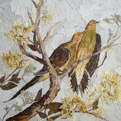 Obraz wyklejony z zasuszonych części roślin