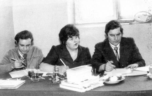 """Jury szkolnych eliminacji V Turnieju """"Złotej Kielni"""".(27-28.02.1976r)"""