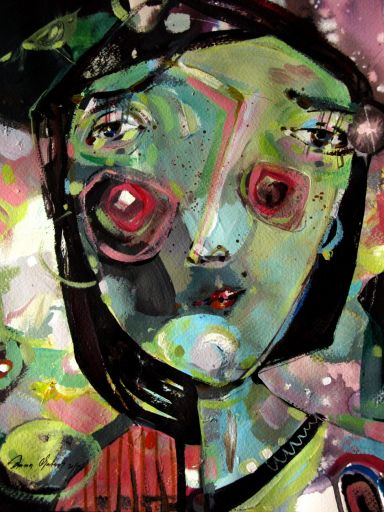 ilustracja, sztuka, malarstwo, portret