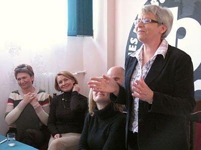 Grażyna Strzyżewska, Alina Kamińska, Elżbieta Tyc i Krystyna Juszkiewicz na spotkaniu stowarzyszenia