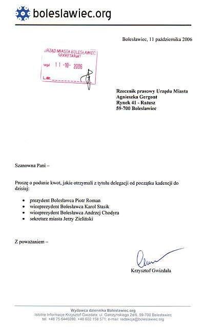 Skan pisma do Urzędu Miasta z datą wpływu 11 października 2006