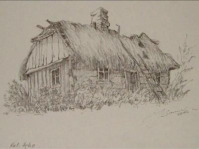 Rysunek przedstawiający chatę