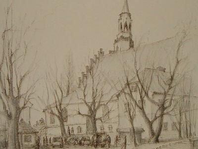 Rysunek przedstawiający Sanktuarium w Bolesławcu