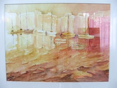 Obraz przedstawiający łodzie